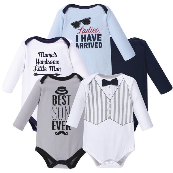 Hudson Baby Cotton Long-Sleeve Bodysuits, Handsome Little Man