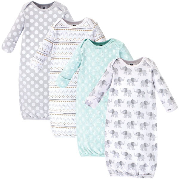 Hudson Baby Cotton Gowns, Gray Elephant