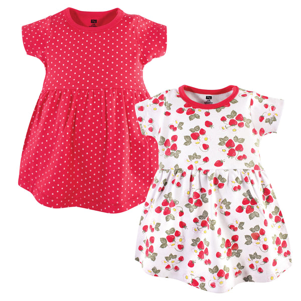 Hudson Baby Cotton Dresses, Strawberries