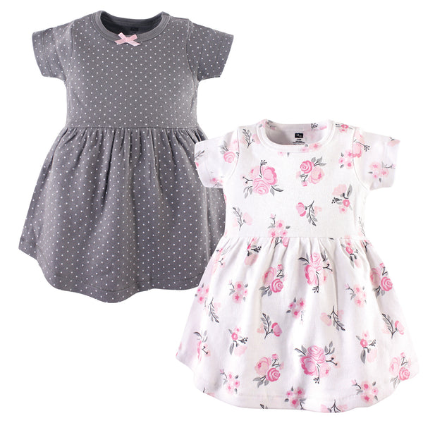 Hudson Baby Cotton Dresses, Pink Gray Floral