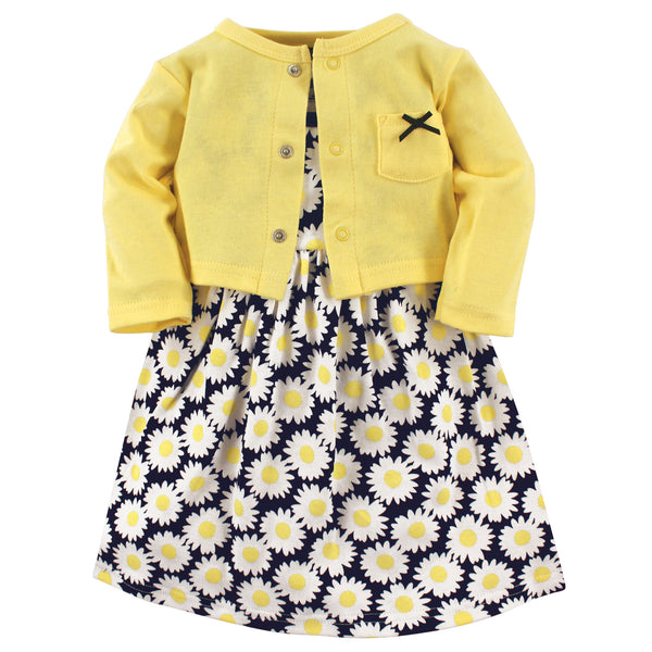 Hudson Baby Cotton Dress and Cardigan Set, Daisy