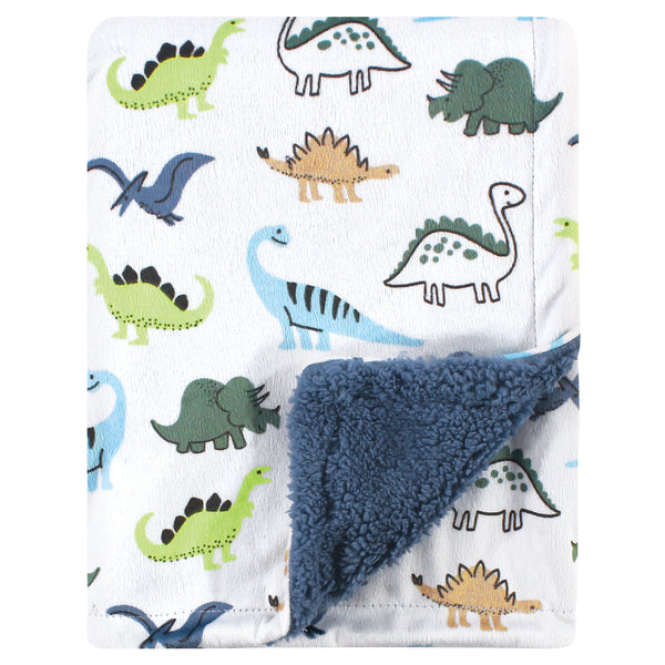 Hudson Baby Plush Blanket with Sherpa Back, Dino