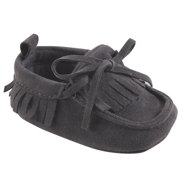 Hudson Baby Moccasin Shoes, Charcoal