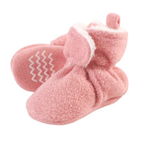 Hudson Baby Cozy Fleece and Sherpa Booties, Strawberry Pink