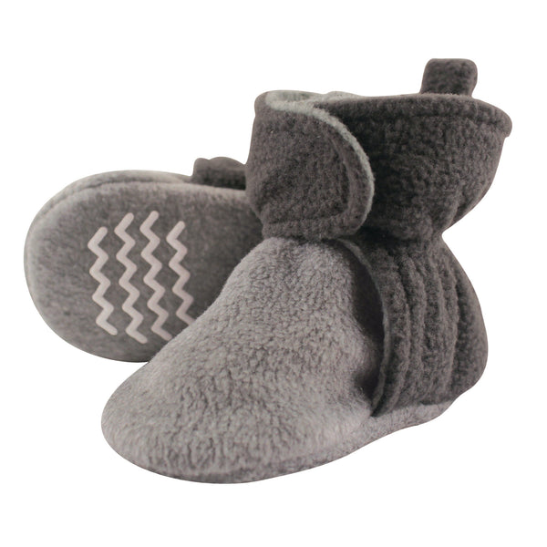 Hudson Baby Cozy Fleece Booties, Charcoal Heather Gray