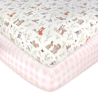 Hudson Baby Cotton Fitted Crib Sheet, Enchanted Forest