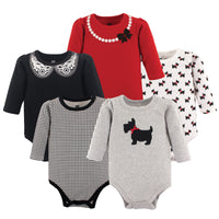 Hudson Baby Cotton Long-Sleeve Bodysuits, Scottie Dog