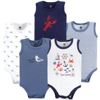 Hudson Baby Cotton Sleeveless Bodysuits, Sea Shore