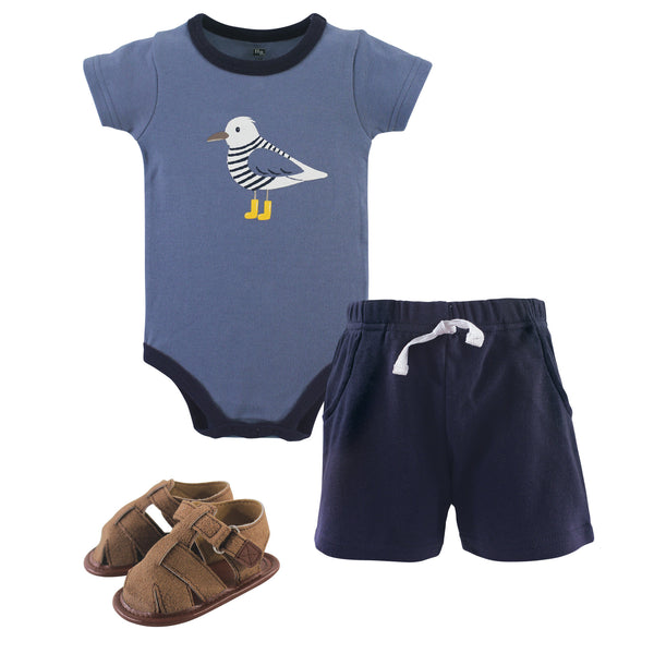 Hudson Baby Cotton Bodysuit, Shorts and Shoe Set, Seagull