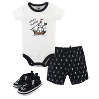 Hudson Baby Cotton Bodysuit, Shorts and Shoe Set, Pirate