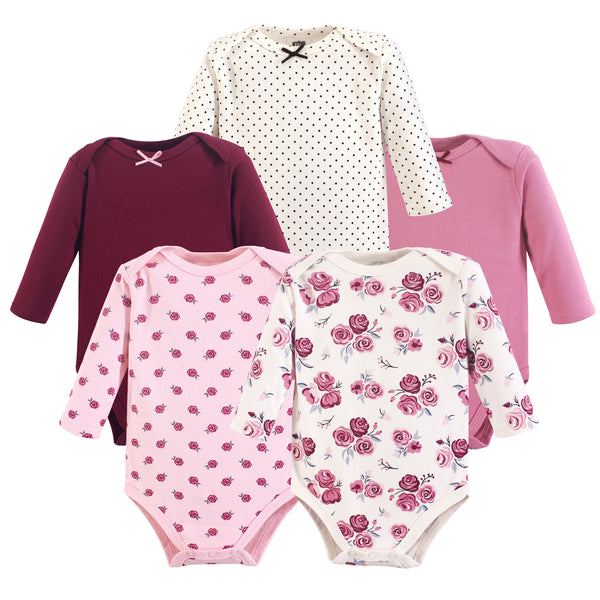 Hudson Baby Cotton Long-Sleeve Bodysuits, Rose 5-Pack