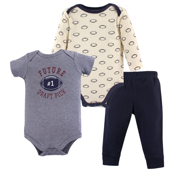 Hudson Baby Cotton Bodysuit and Pant Set, Football