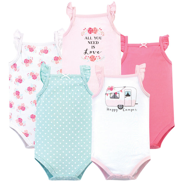 Hudson Baby Cotton Sleeveless Bodysuits, Pink Happy Camper