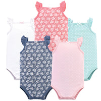 Hudson Baby Cotton Sleeveless Bodysuits, Basic Dot Floral