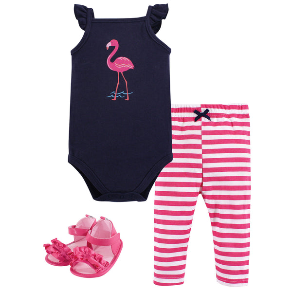 Hudson Baby Cotton Bodysuit, Pant and Shoe Set, Bright Flamingo