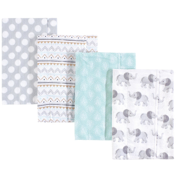 Hudson Baby Cotton Flannel Burp Cloths, Gray Elephant