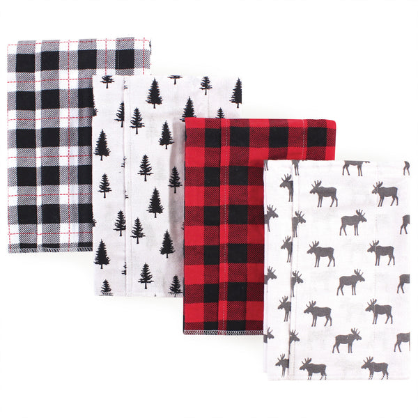 Hudson Baby Cotton Flannel Burp Cloths, Moose