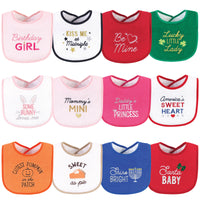 Hudson Baby Cotton Terry Drooler Bibs with Fiber Filling, Cute Girl Holiday Sayings
