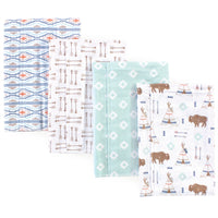 Hudson Baby Cotton Flannel Burp Cloths, Teepee
