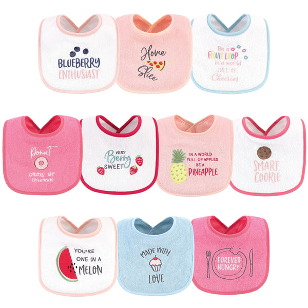 Hudson Baby Cotton Terry Drooler Bibs with Fiber Filling, Food Girl