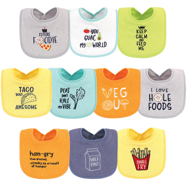 Hudson Baby Cotton Terry Drooler Bibs with Fiber Filling, Food Neutral