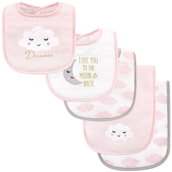 Hudson Baby Cotton Terry Bib and Burp Cloth Set, Dreamer