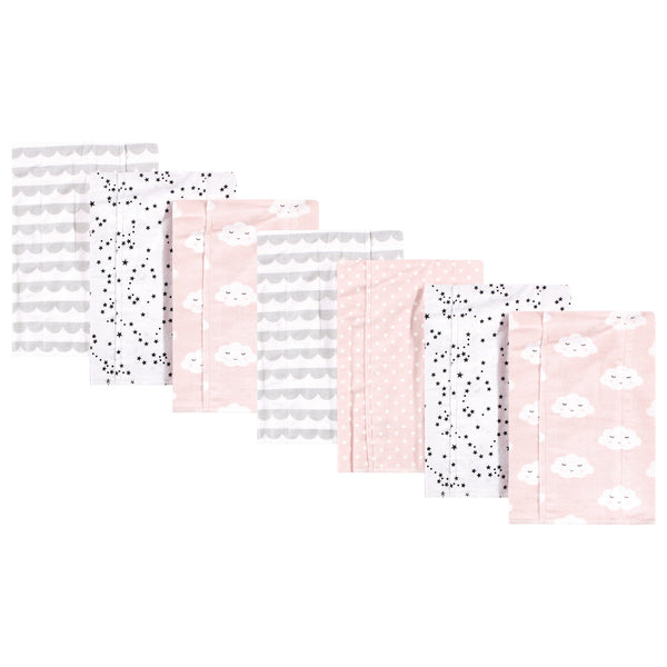 Hudson Baby Cotton Flannel Burp Cloths, Pink Clouds