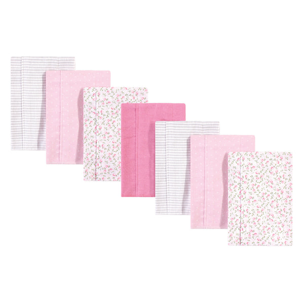 Hudson Baby Cotton Flannel Burp Cloths, Pink Peony