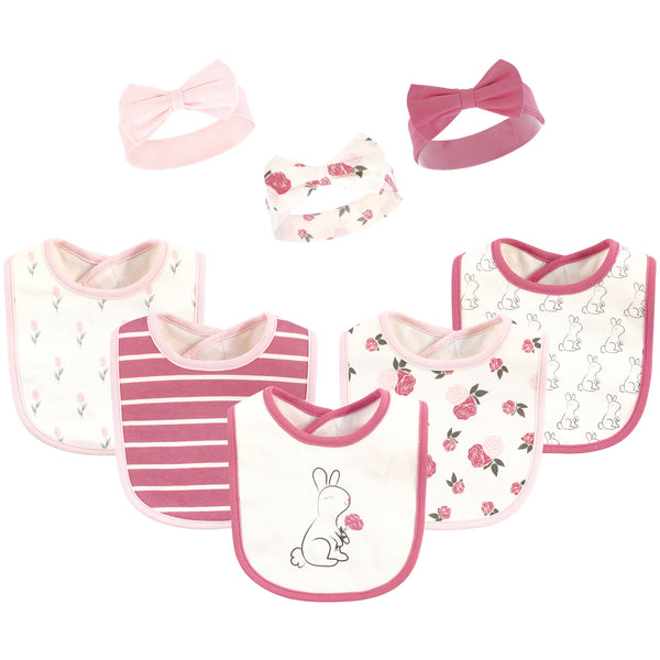 Hudson Baby Cotton Bib and Headband or Caps Set, Pink Bunny