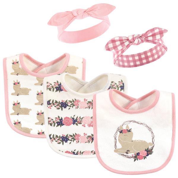 Hudson Baby Cotton Bib and Headband or Caps Set, Fawn