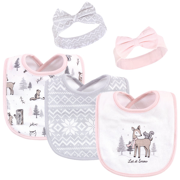 Hudson Baby Cotton Bib and Headband or Caps Set, Winter Forest