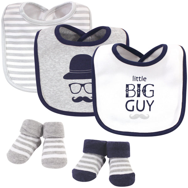 Hudson Baby Cotton Bib and Sock Set, Little Big Guy