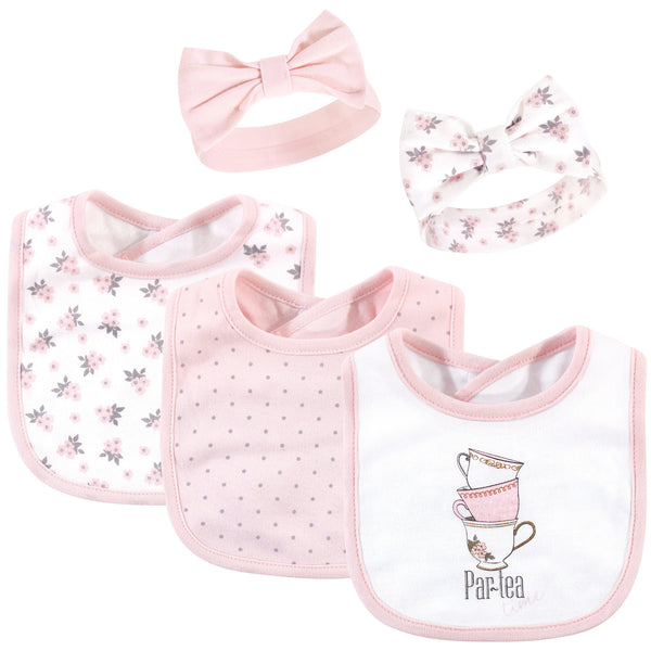 Hudson Baby Cotton Bib and Headband or Caps Set, Partea Time