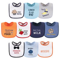 Hudson Baby Cotton Terry Drooler Bibs with Fiber Filling, Boy Muffin