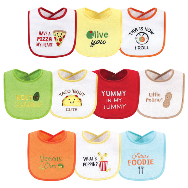 Hudson Baby Cotton Terry Drooler Bibs with Fiber Filling, Neutral Pizza