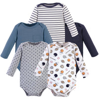 Hudson Baby Cotton Long-Sleeve Bodysuits, Basic Sports 5-Pack