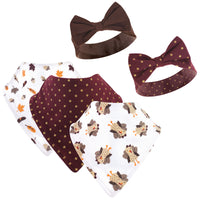 Hudson Baby Cotton Bib and Headband or Caps Set, Girl Turkey