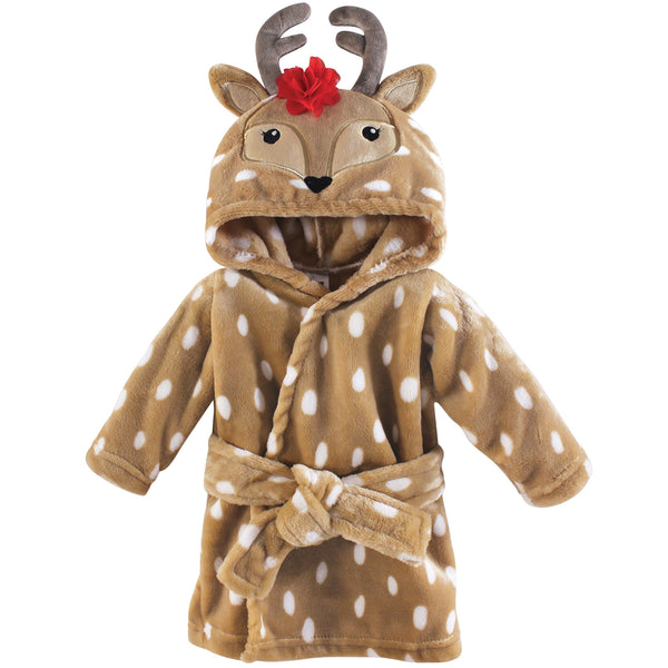 Hudson Baby Plush Animal Face Bathrobe, Girl Reindeer
