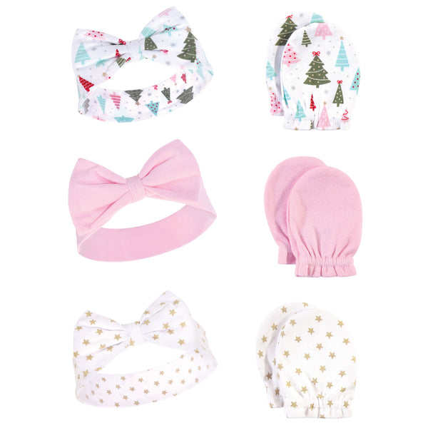 Hudson Baby Cotton Headband and Scratch Mitten Set, Sparkle Trees