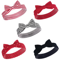 Hudson Baby Cotton and Synthetic Headbands, Red Houndstooth