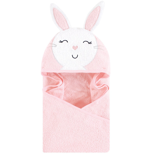 Hudson Baby Cotton Animal Face Hooded Towel, Pink Bunny