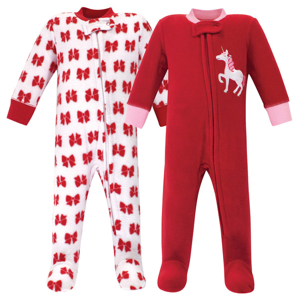 Hudson Baby Fleece Sleep and Play, Christmas Unicorn