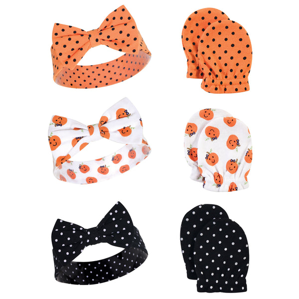 Hudson Baby Cotton Headband and Scratch Mitten Set, Halloween Dots