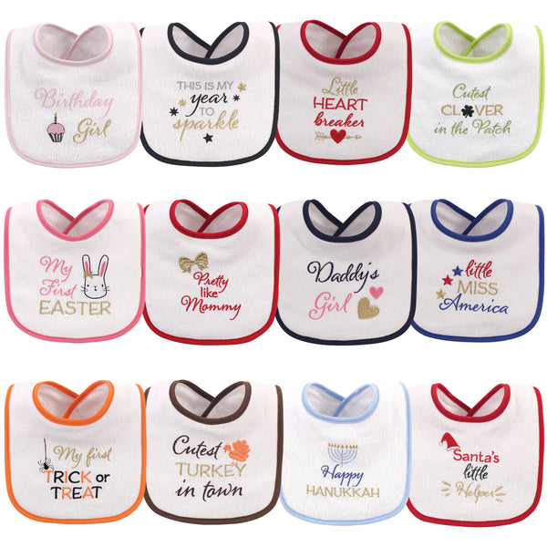 Hudson Baby Cotton Terry Drooler Bibs with Fiber Filling, Holiday Girl Sparkle