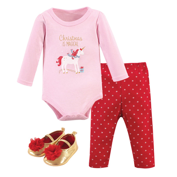 Hudson Baby Cotton Bodysuit, Pant and Shoe Set, Magical Christmas