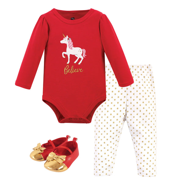 Hudson Baby Cotton Bodysuit, Pant and Shoe Set, Christmas Unicorn