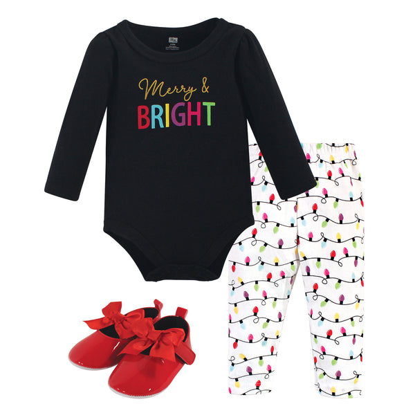 Hudson Baby Cotton Bodysuit, Pant and Shoe Set, Merry Bright