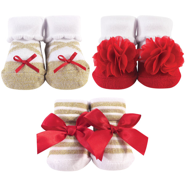 Hudson Baby Socks Boxed Giftset, Red Gold