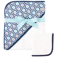 Hudson Baby Cotton Hooded Towel and Washcloth, Honeycomb