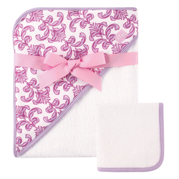 Hudson Baby Cotton Hooded Towel and Washcloth, Brocade